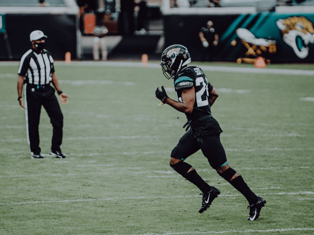 Josiah Scott, NFL player playing for Jacksonville Jaguars, wearing our Invictus Armis 2.0 Coal