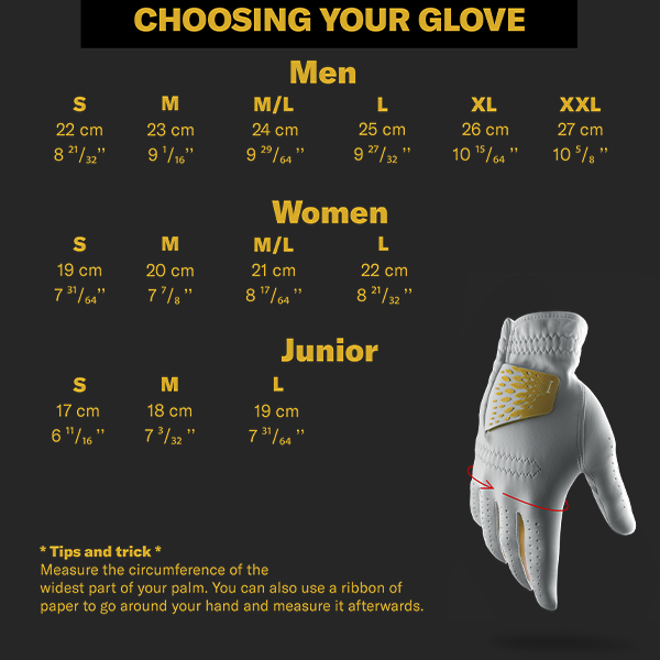 Size chart of our Invictus Golf Gloves Imperio